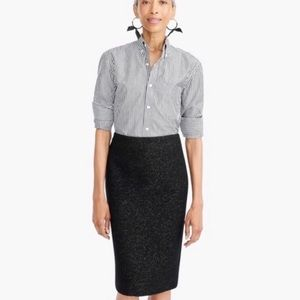 J. Crew metallic black flecked wool pencil skirt 2